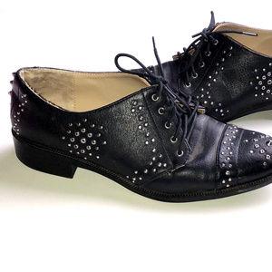 ZARA Trafaluc Black Silver Studded Dress Shoes 7